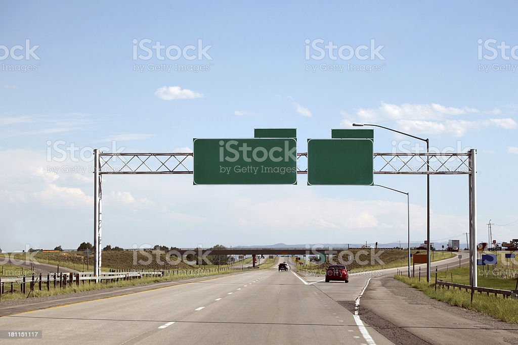 Highway and green signs with clipping path stock photo
