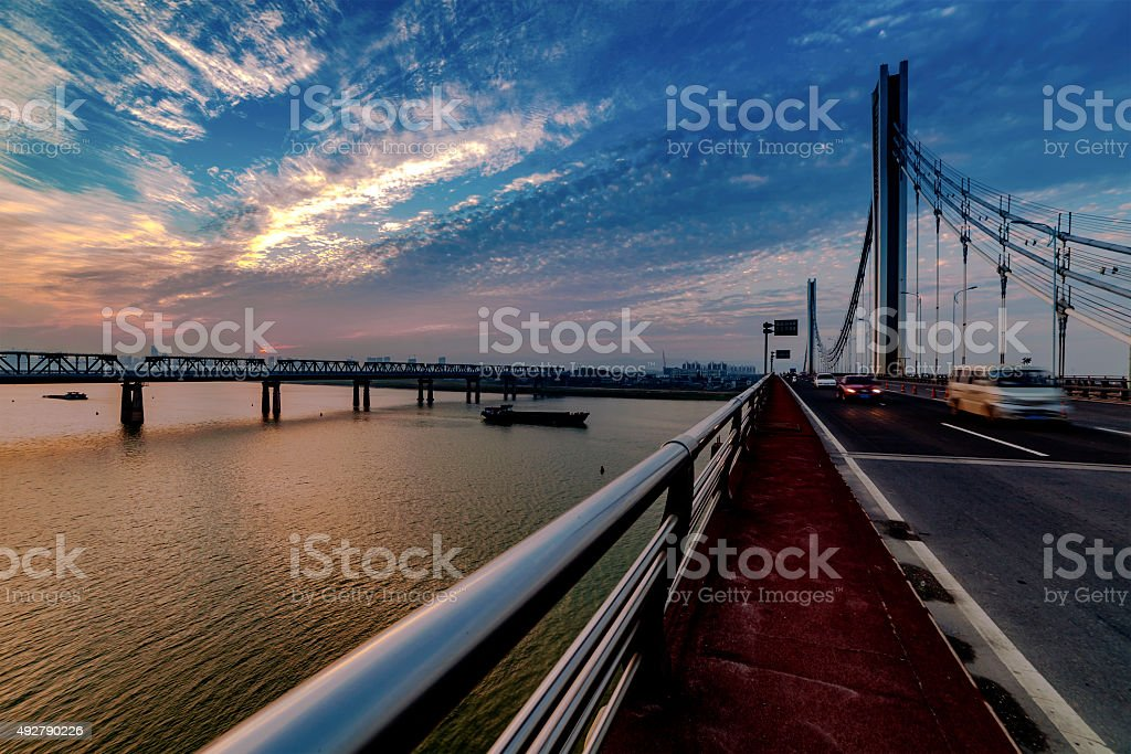 Highway and railway bridge stock photo