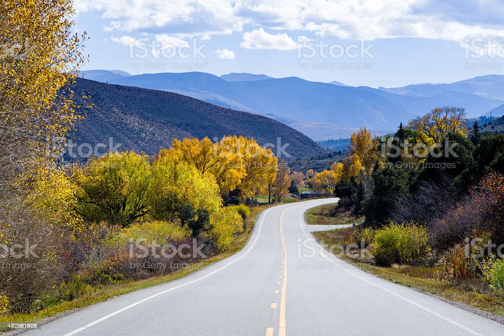 Highway and Scenic Fall Colors stock photo