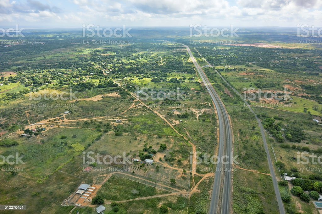 Highway at Ciudad Bolivar, Venezuela. From above, aerial view. stock photo