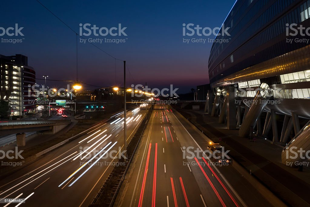 Highway at dusk - high-angle view, long exposure stock photo