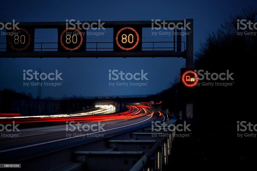 Highway at dusk, long exposure stock photo