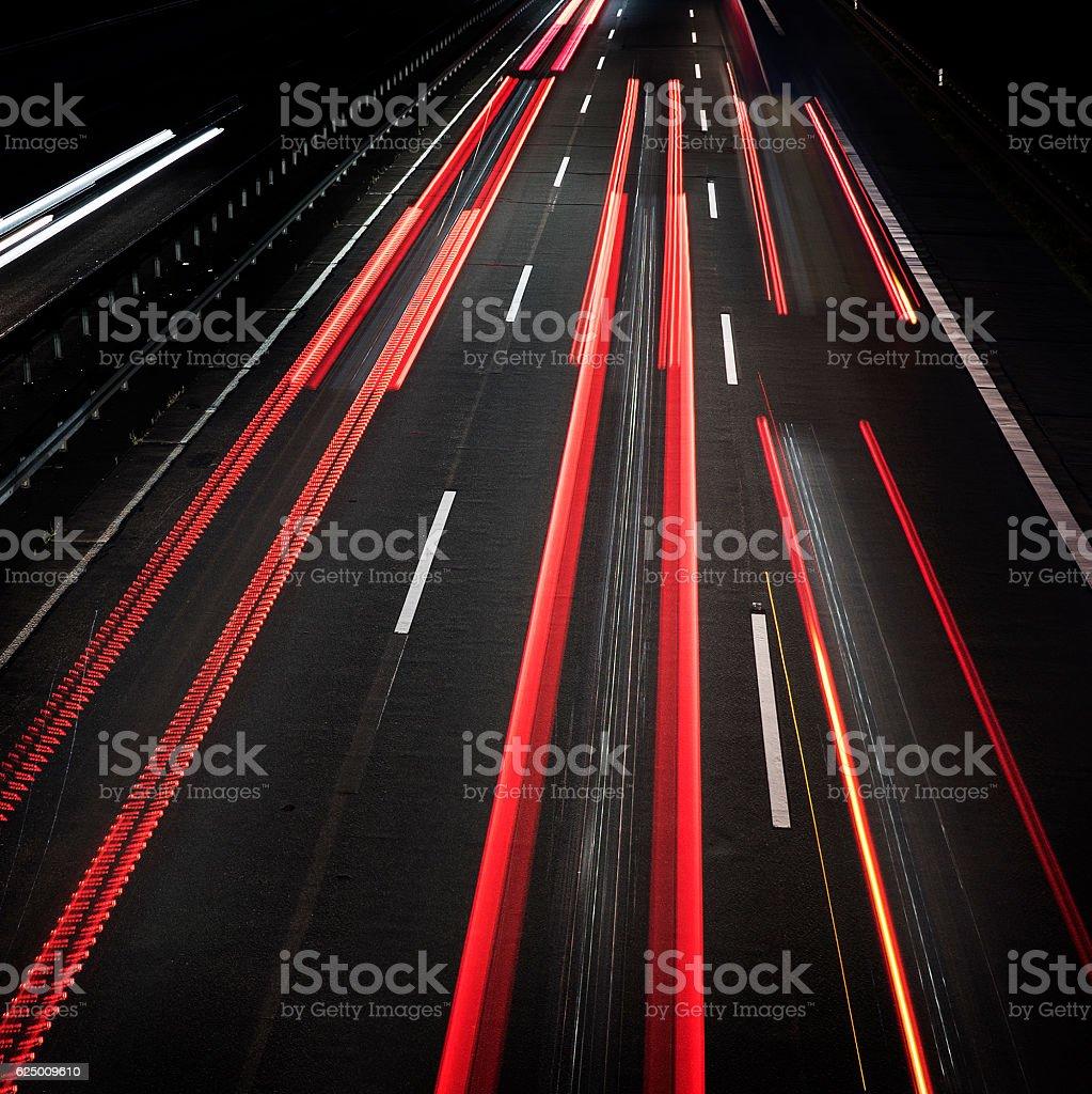 Highway at dusk - long exposure stock photo
