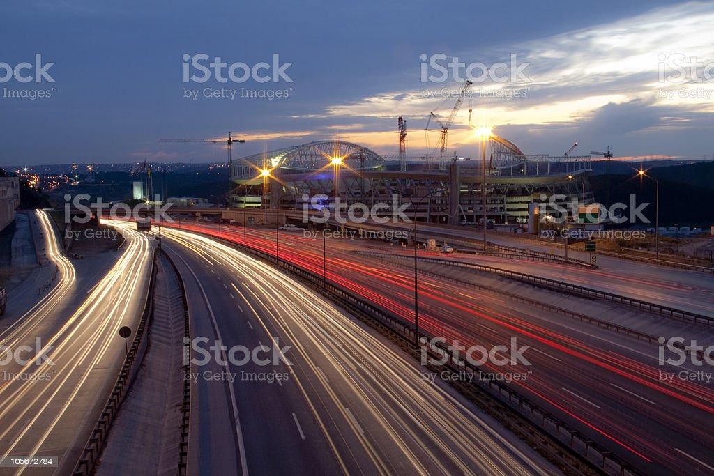 Highway at night Istanbul,Turkey stock photo