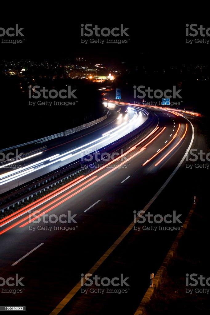 Highway at night, long exposure royalty-free stock photo