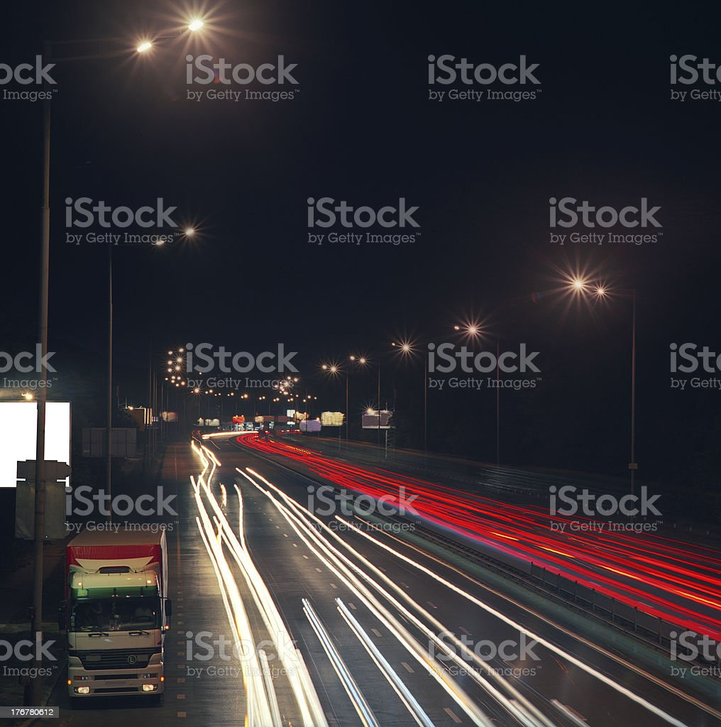 Highway at night. royalty-free stock photo
