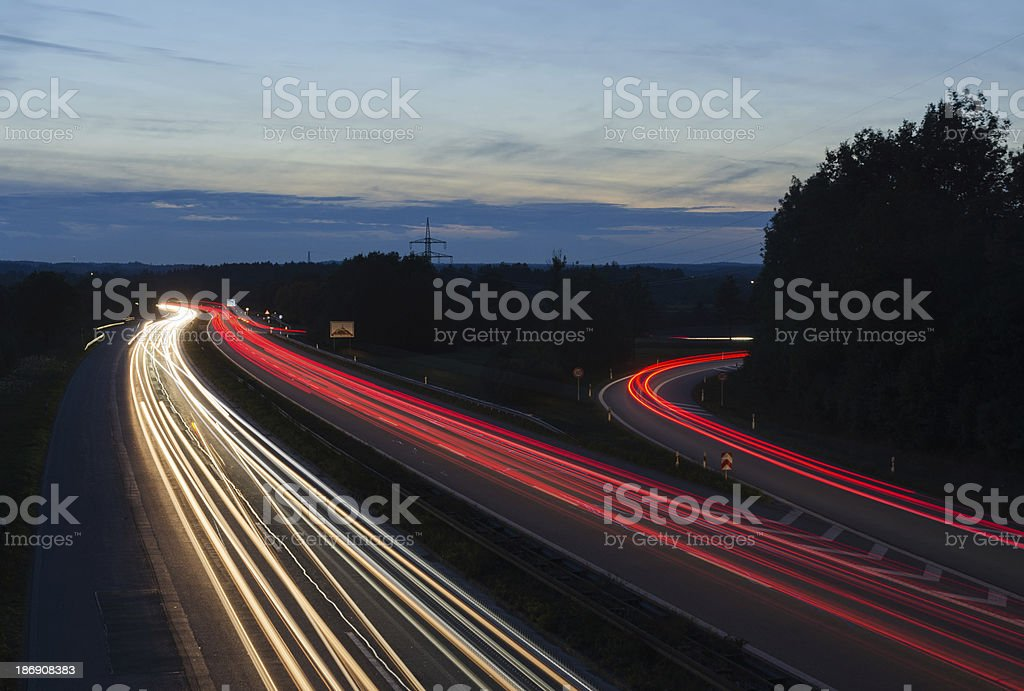 Highway at Night royalty-free stock photo