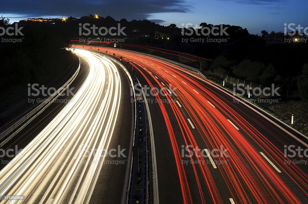 Highway At Night; Traffic royalty-free stock photo