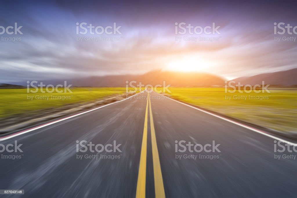Highway at Sunset stock photo