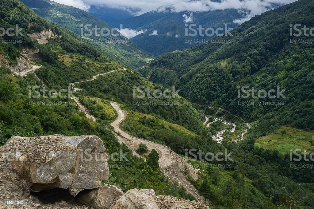 Highway between Assam and Tawang, Arunachal Pradesh, India. stock photo