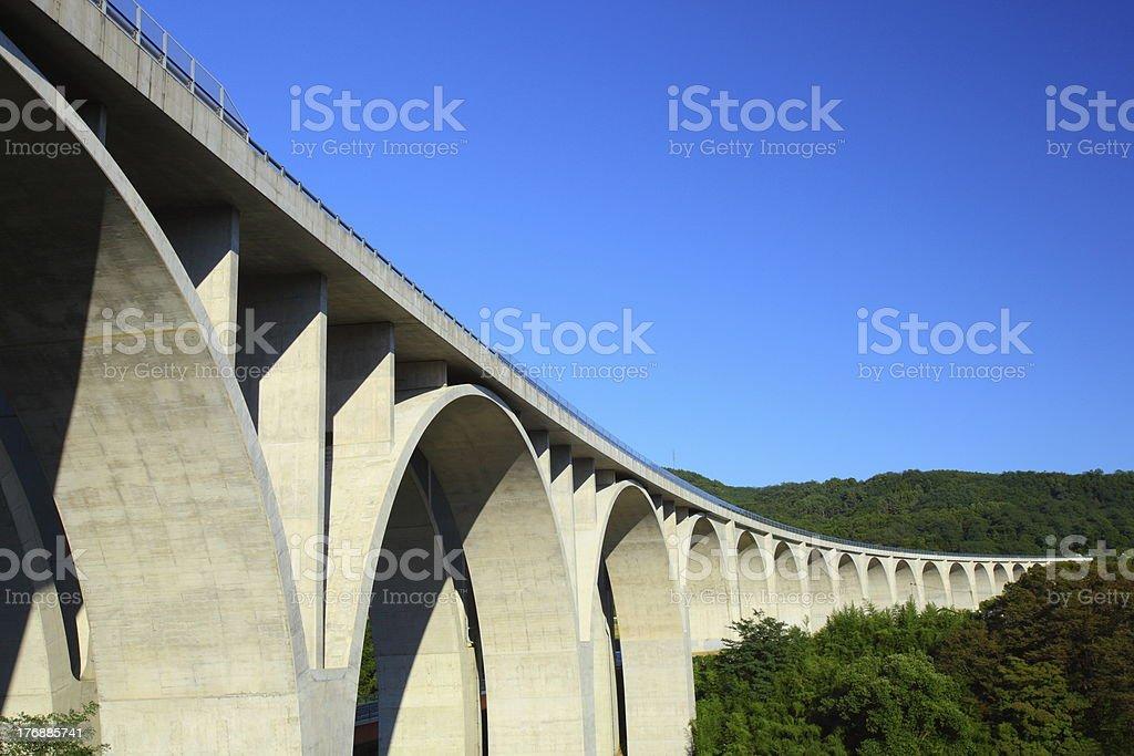 Highway bridge and blue sky stock photo