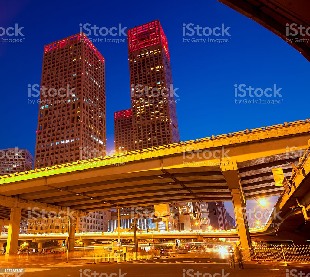 Highway bridge crossing Beiijng CBD royalty-free stock photo