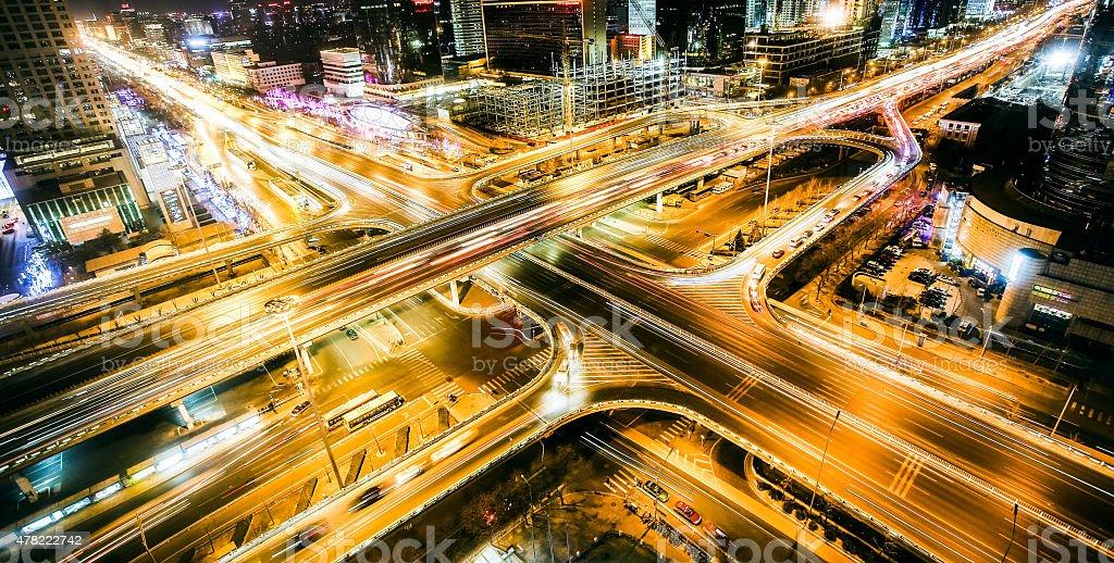 Highway bridge crossing Beiijng CBD stock photo