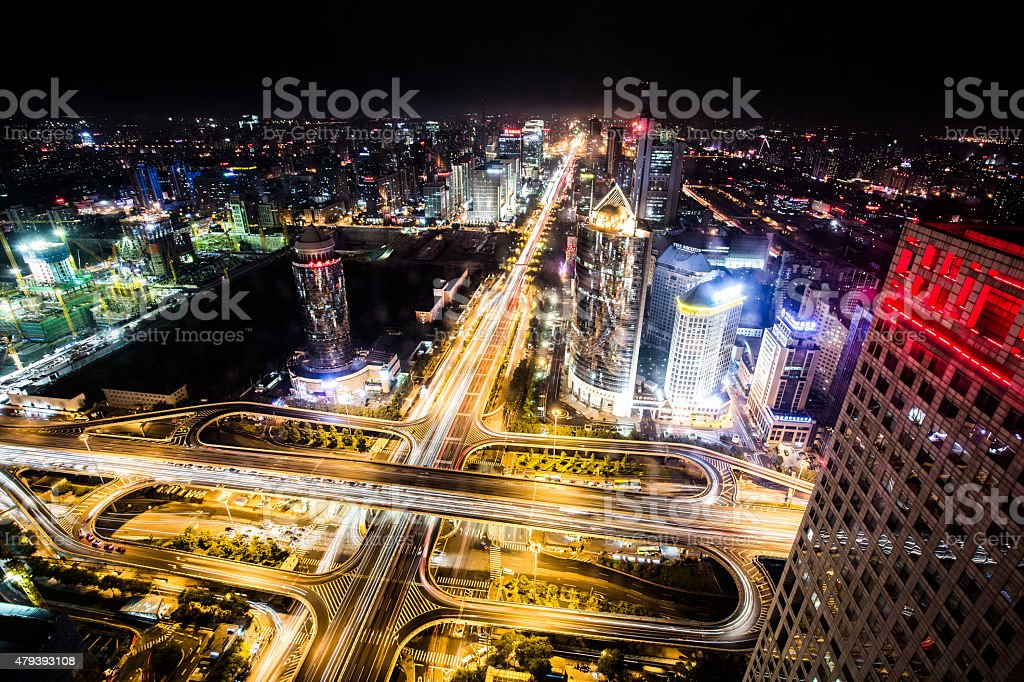 Highway bridge crossing city stock photo