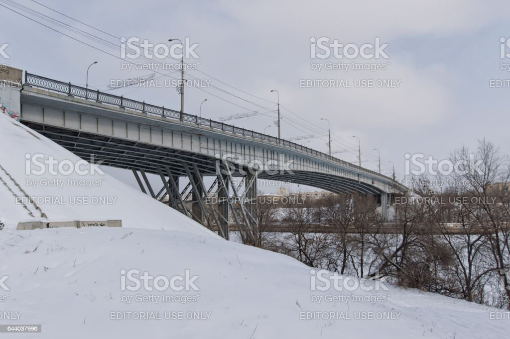 Highway bridge over navigable Volga-don canal stock photo