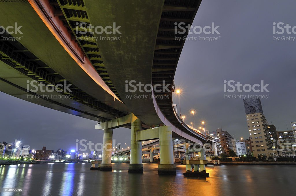 highway by night royalty-free stock photo