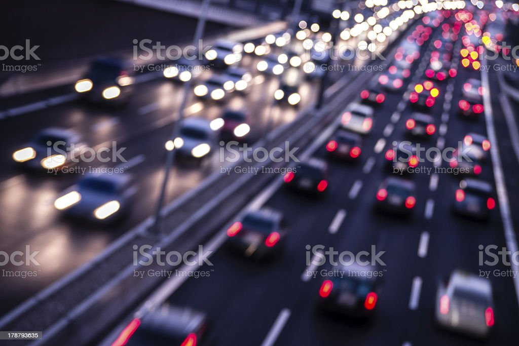 highway by night stock photo