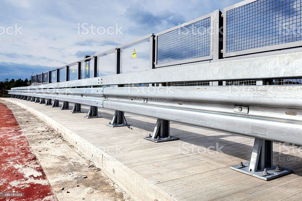 Highway construction site, guardrail stock photo