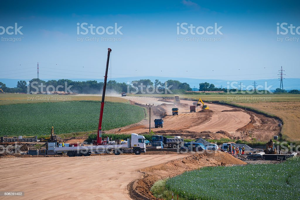 Highway construction site stock photo