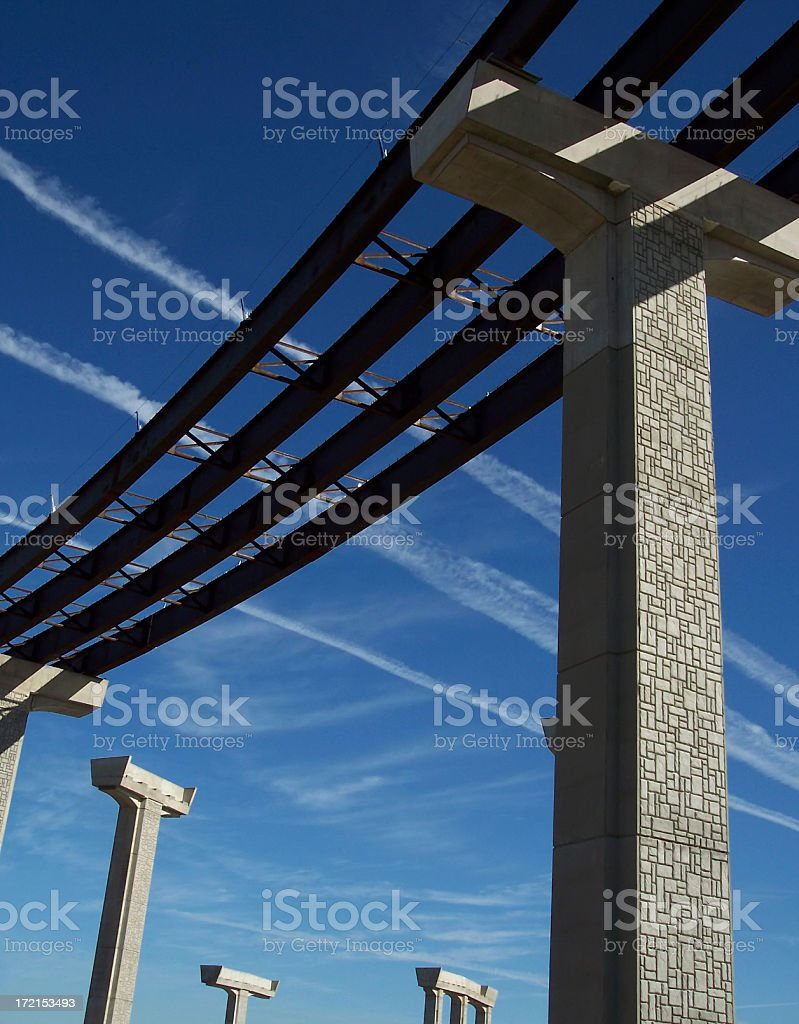 Highway Construction with Distant Pylons royalty-free stock photo
