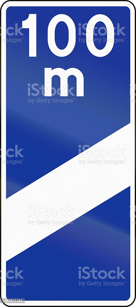 Highway Countdown Marker 100 Meters In Poland stock photo