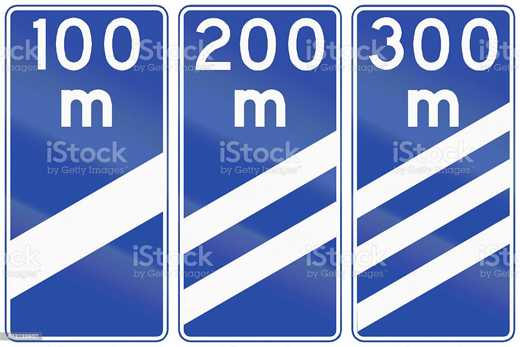 Highway Countdown Markers In Chile stock photo