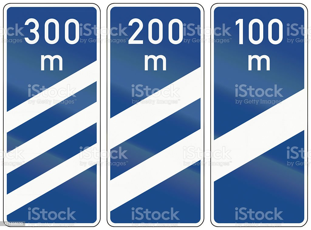 Highway Countdown Markers In Germany stock photo