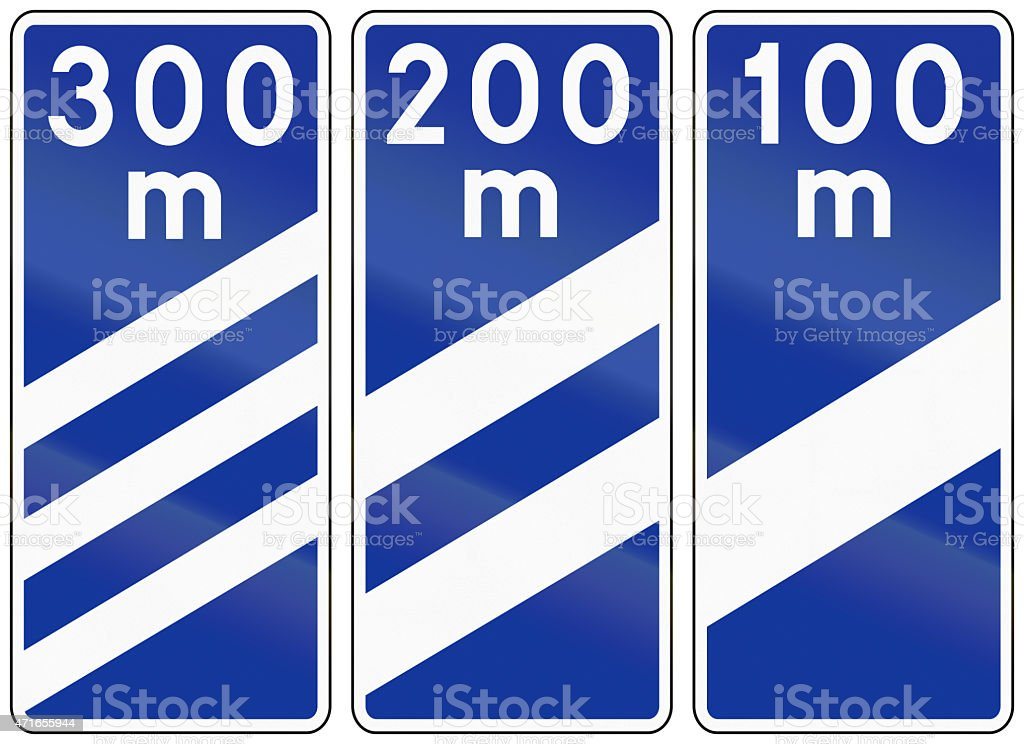 Highway Countdown Markers In Poland stock photo