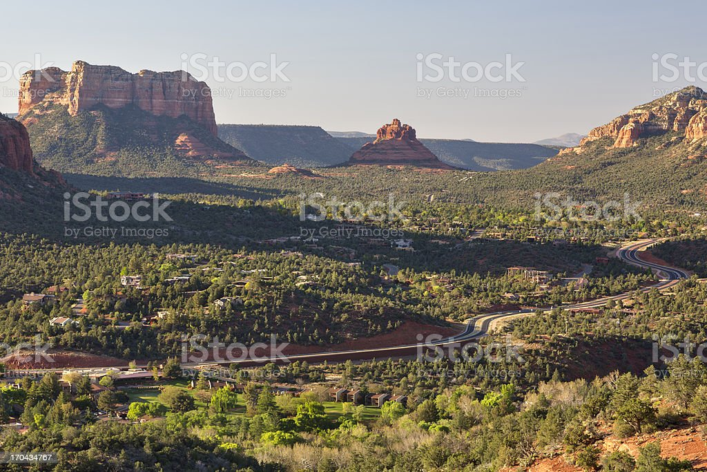 Highway, Courthouse Butte and Bell Rock, Sedona, Arizona stock photo