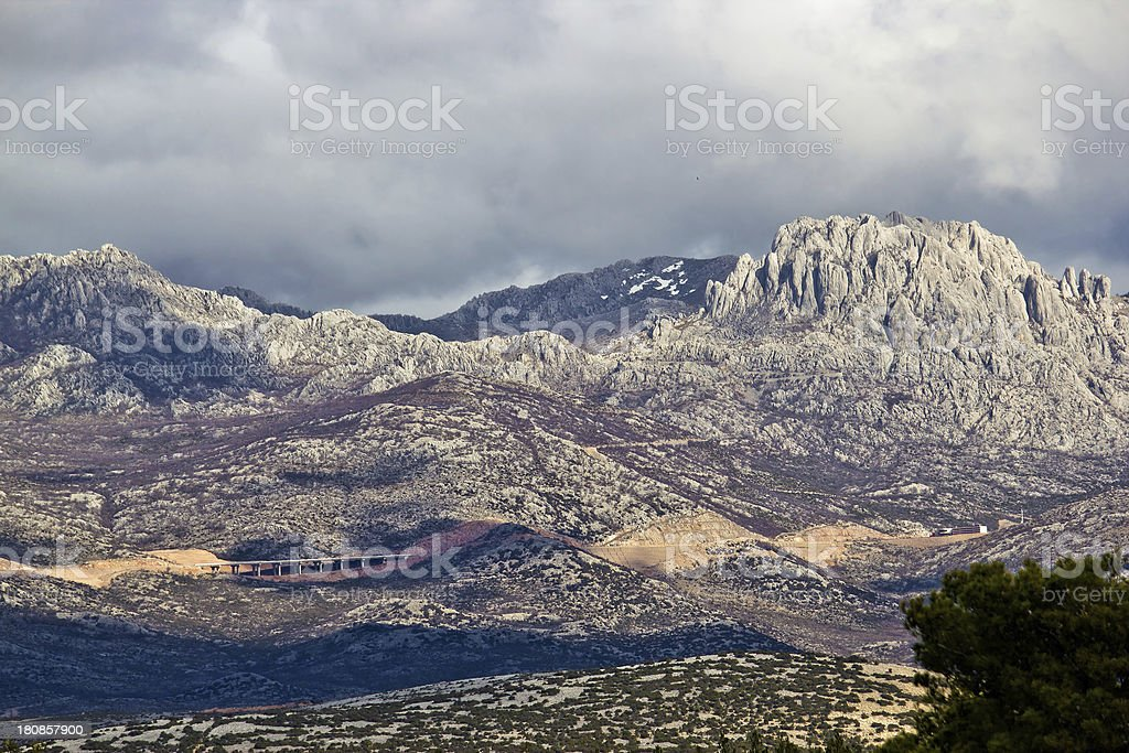 A1 Highway, Croatia - Velebit mountain road stock photo