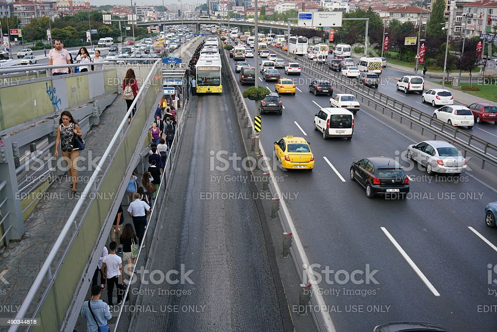 Highway crowded in istanbu stock photo