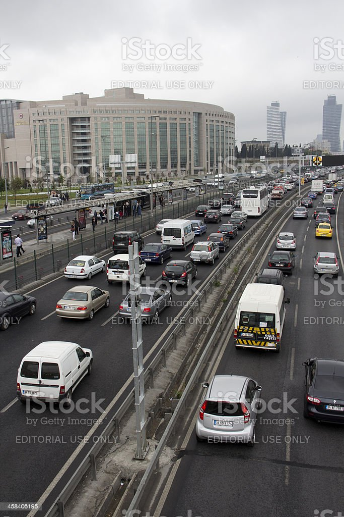 Highway crowded in istanbul. stock photo