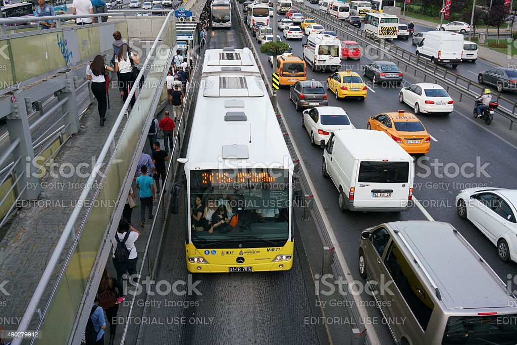 Highway crowded in istanbul stock photo