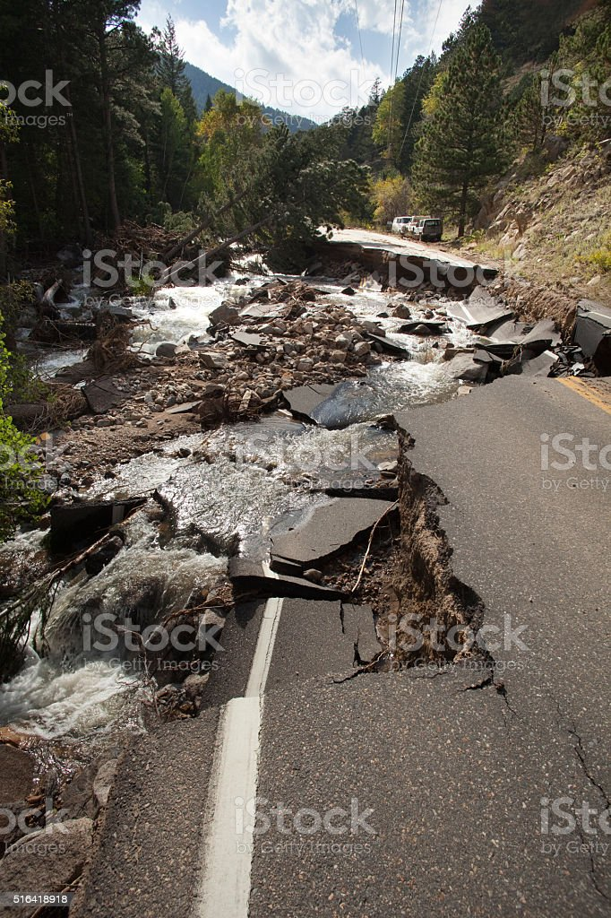 Highway destroyed Left Hand Creek flood damage Boulder Colorado stock photo