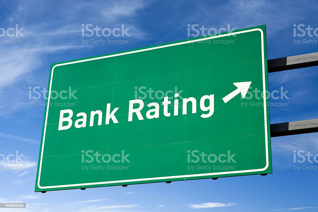 Highway directional sign for Bank rating royalty-free stock photo