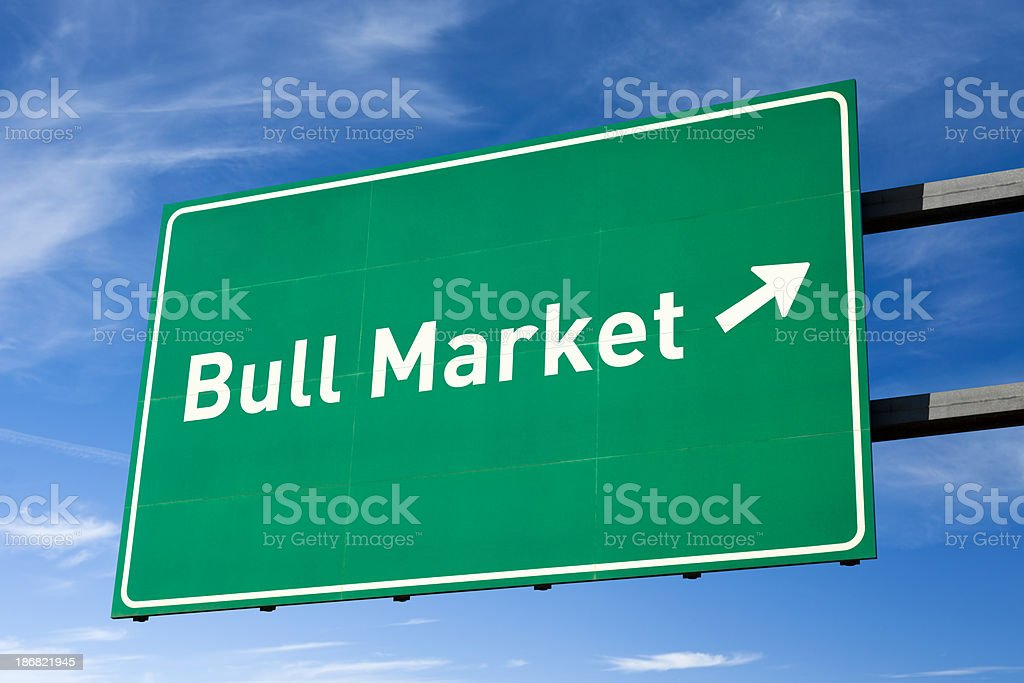 Highway directional sign for Bull market stock photo