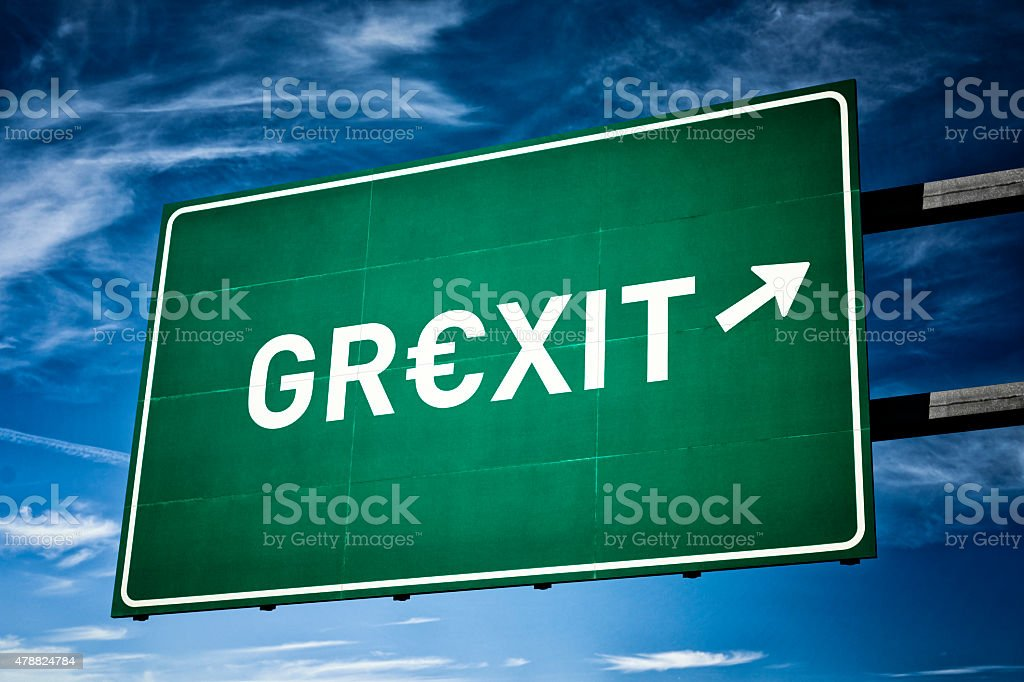 Highway directional sign for GRexit stock photo