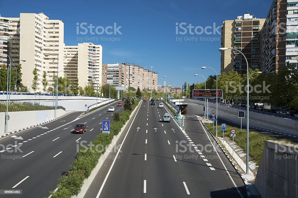 highway end in town stock photo