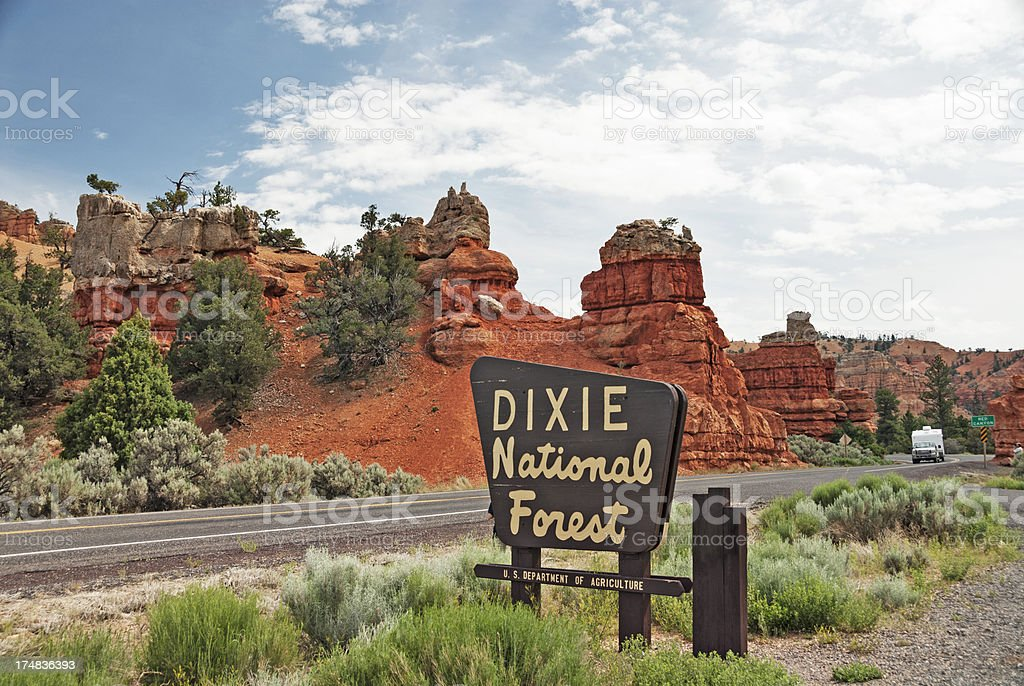 highway entrance to the Dixie national forest stock photo