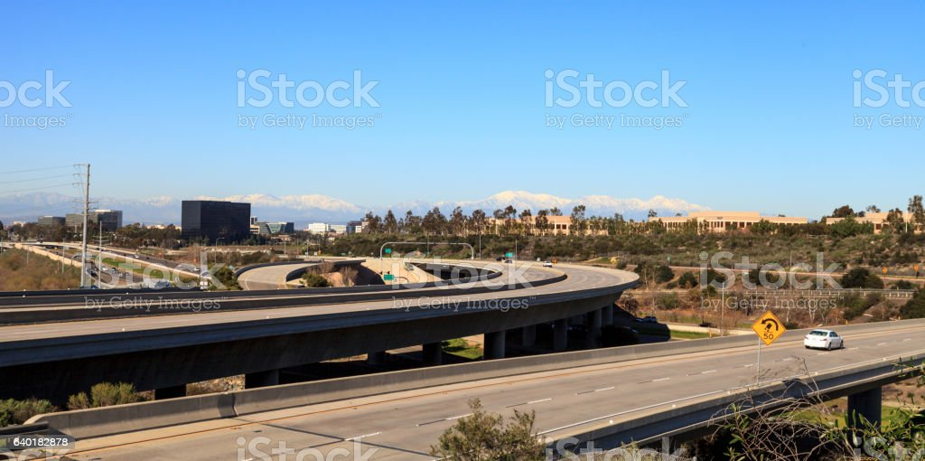 Highway exit headed from Newport Beach stock photo