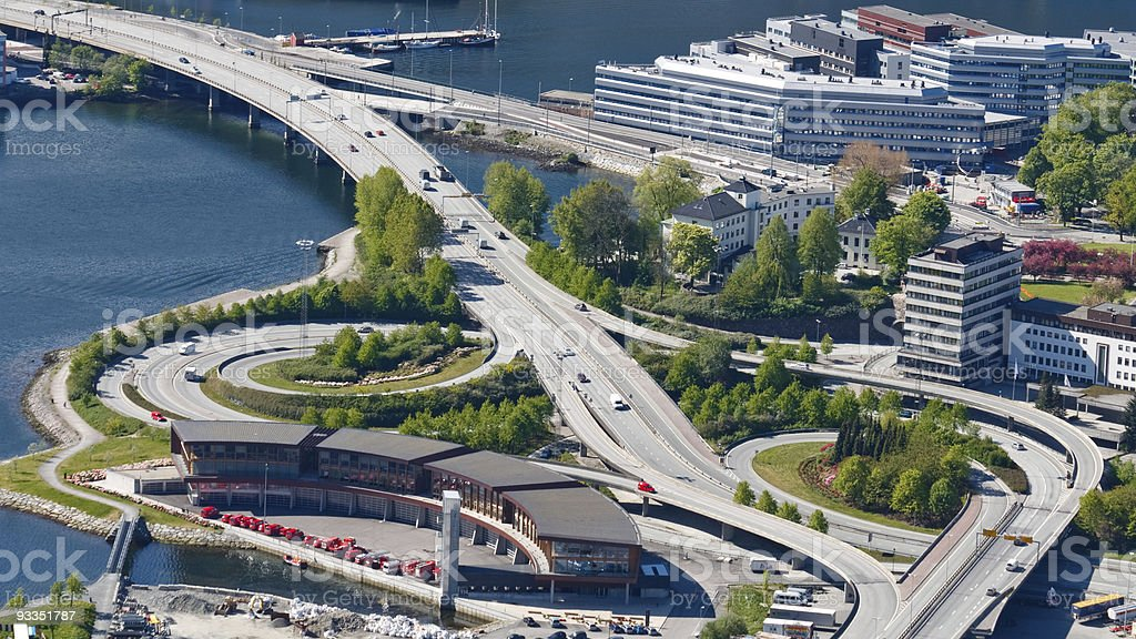 Highway / Freeway Interchange in Bergen, Norway stock photo