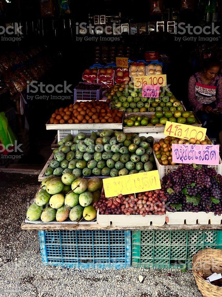 Highway fruit vendor at Pakchong ,Nakhonrajasima province stock photo
