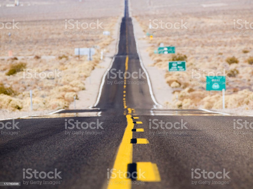 Highway going through Death Valley stock photo