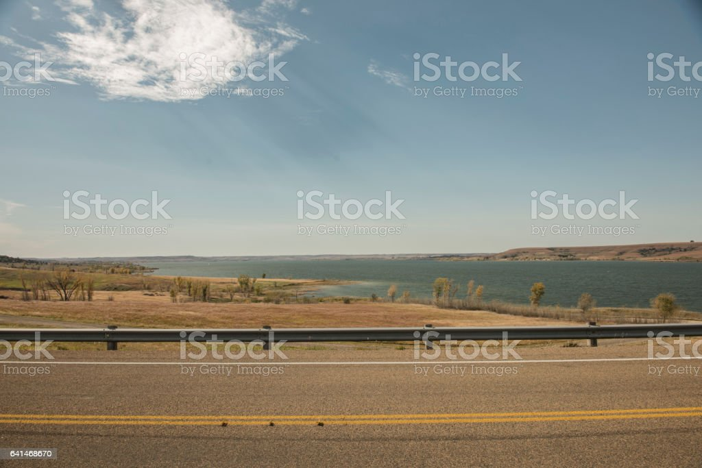 Highway Guard Rail Milford Lake stock photo