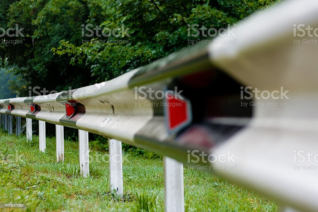 Highway guardrail perspective stock photo
