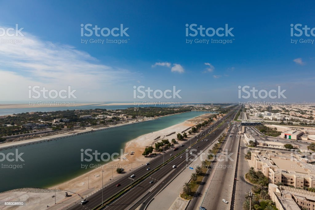 highway in abu dhabi, united arab emirates stock photo