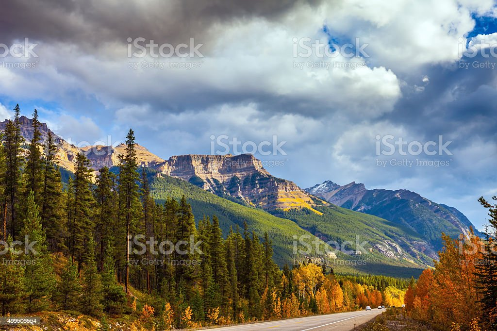 Highway in Banff National Park stock photo