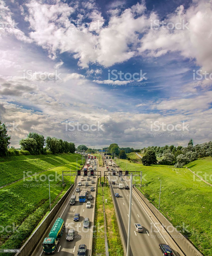 Highway in Belgium. stock photo