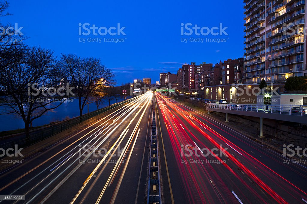 Highway in Boston at twilight royalty-free stock photo