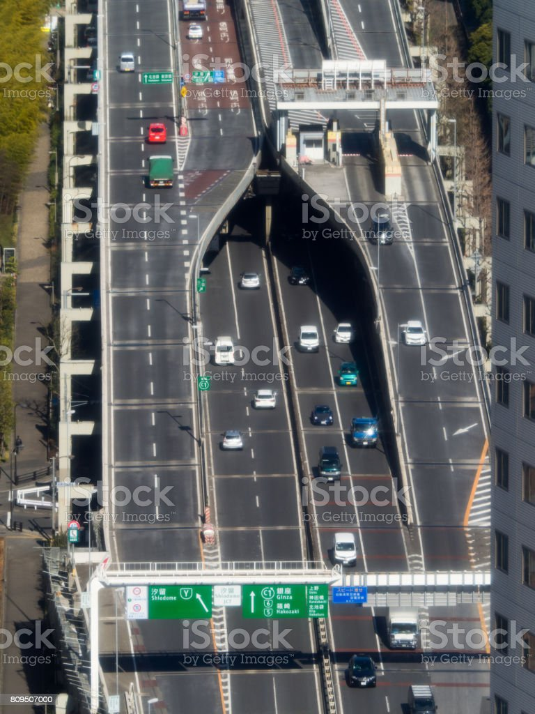 Highway in central Tokyo stock photo